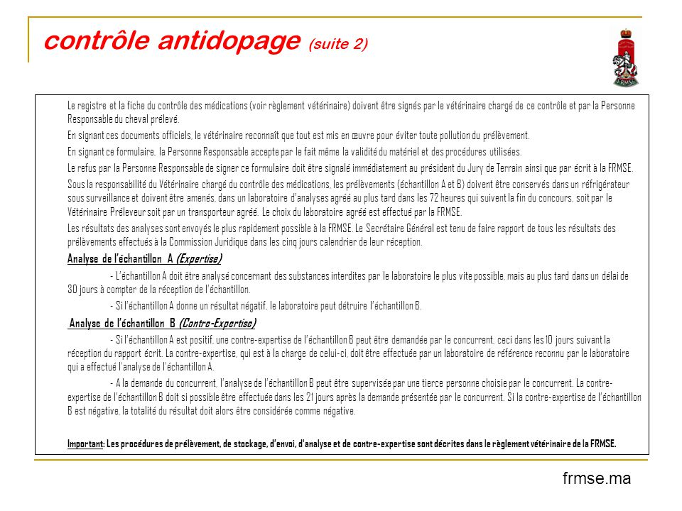 contrôle antidopage (suite 2)