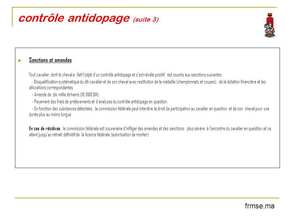 contrôle antidopage (suite 3)
