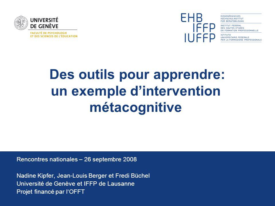 Des outils pour apprendre: un exemple d'intervention métacognitive