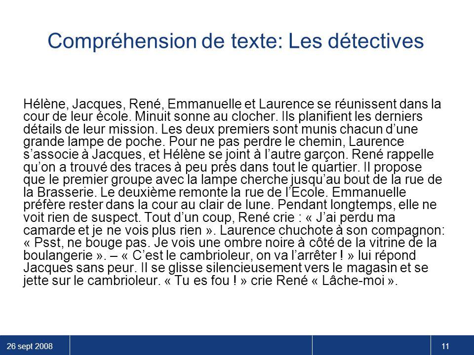 Compréhension de texte: Les détectives