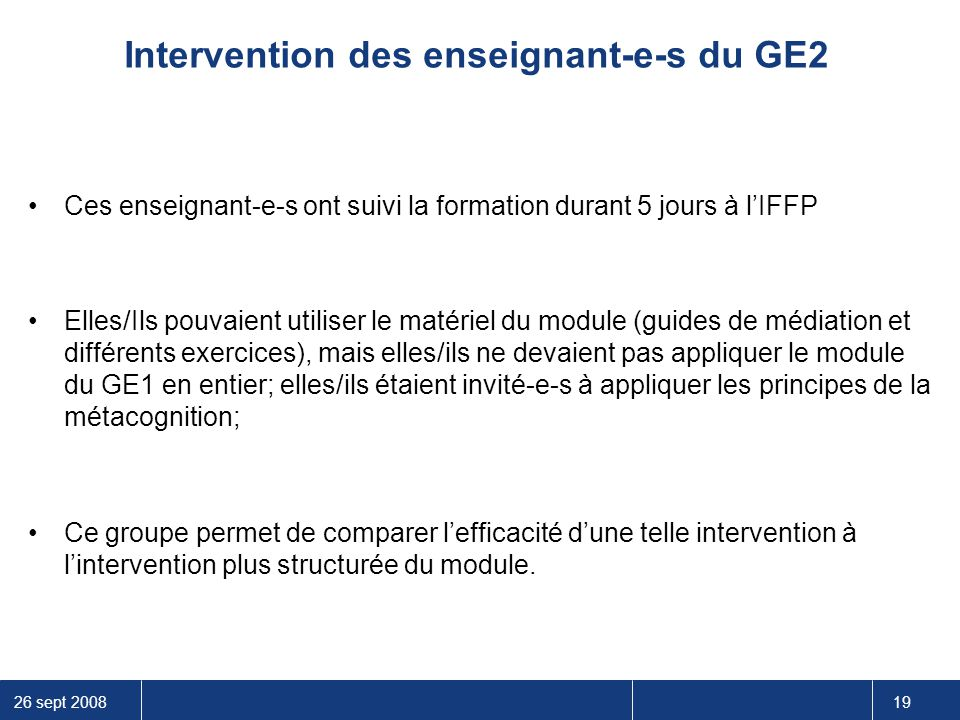 Intervention des enseignant-e-s du GE2