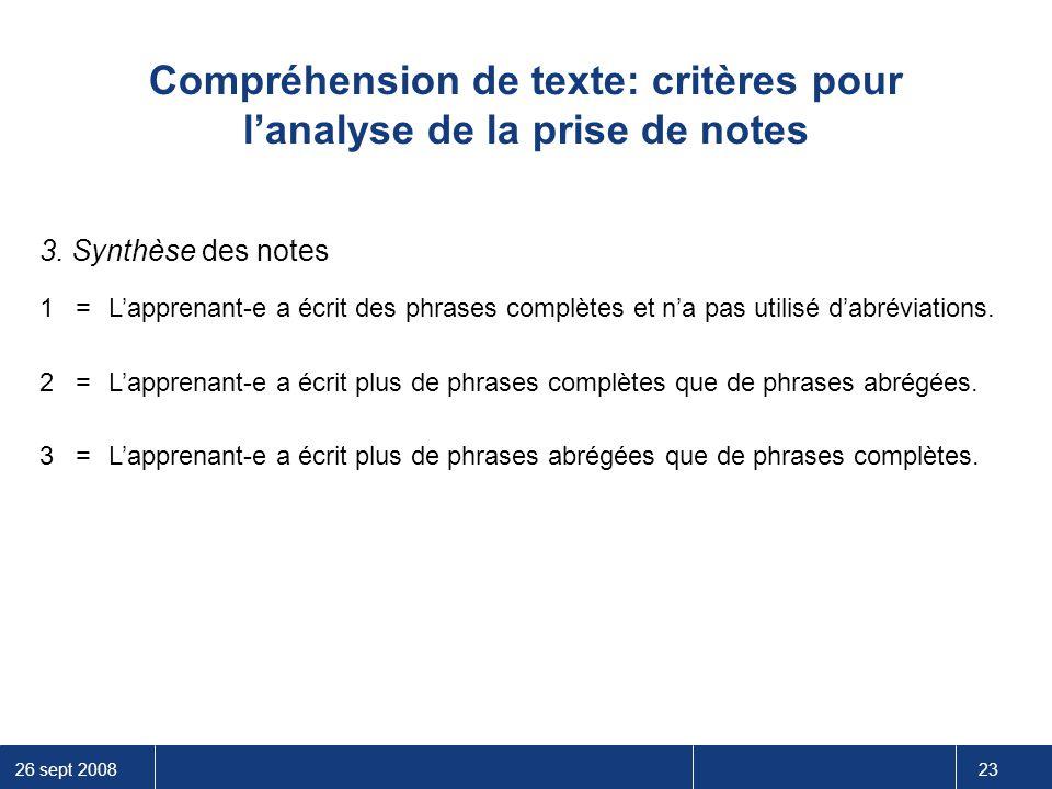 Compréhension de texte: critères pour l'analyse de la prise de notes