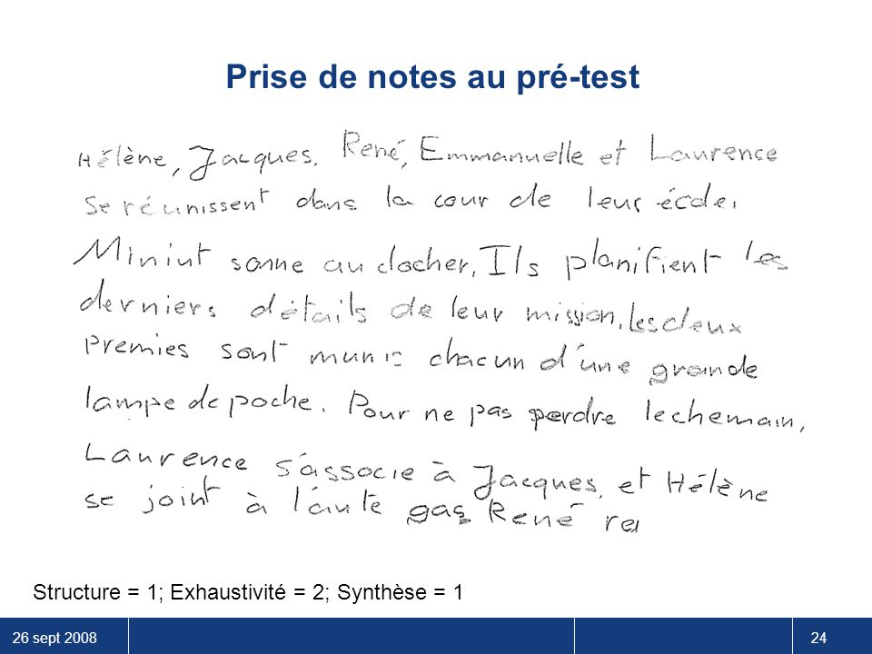 Prise de notes au pré-test