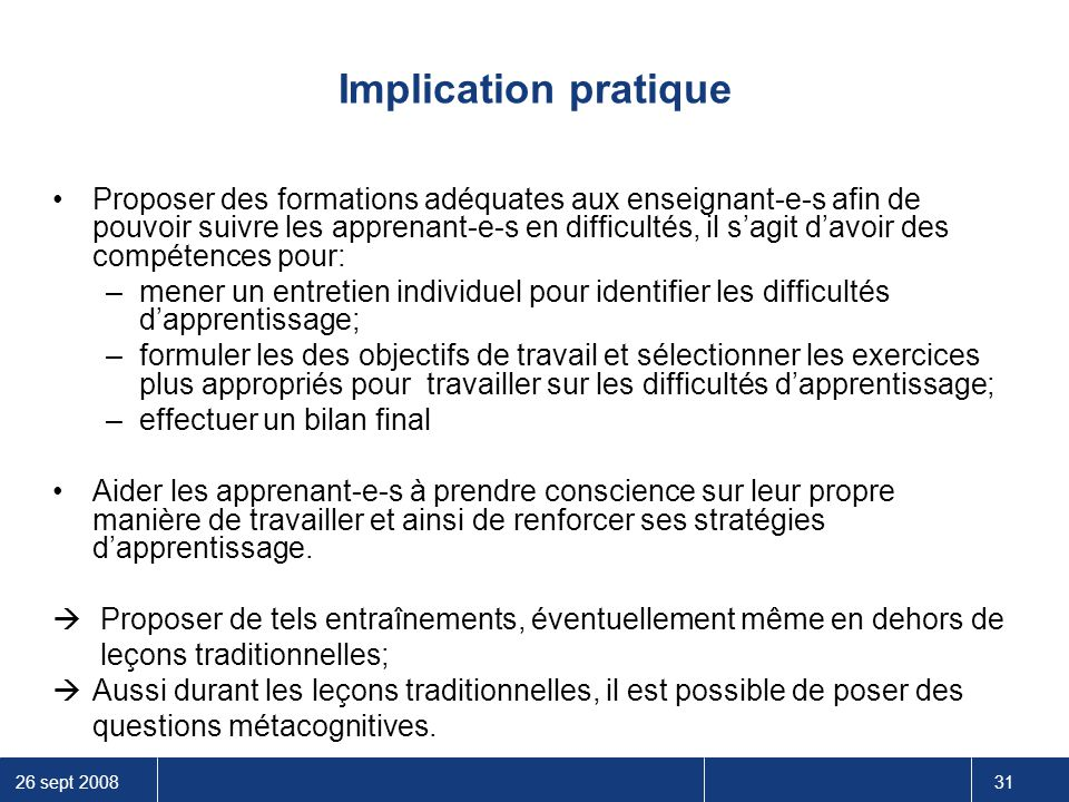 Implication pratique