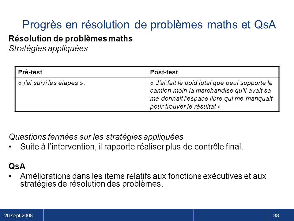 Progrès en résolution de problèmes maths et QsA