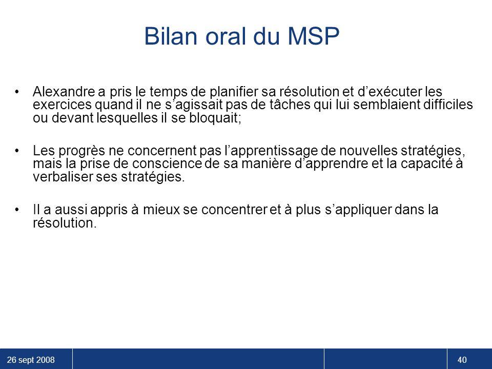 Bilan oral du MSP