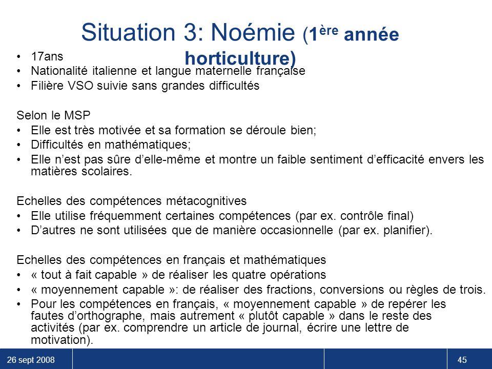 Situation 3: Noémie (1ère année horticulture)