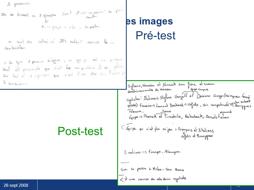 Pré-test Prise de notes Post-test Scanner les images
