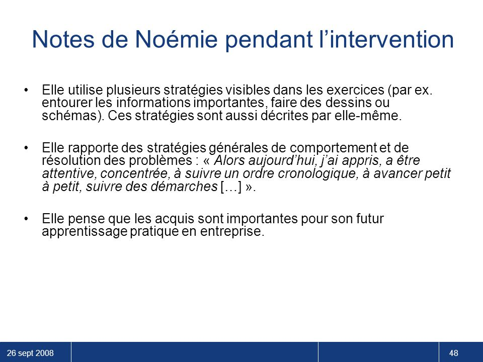 Notes de Noémie pendant l'intervention