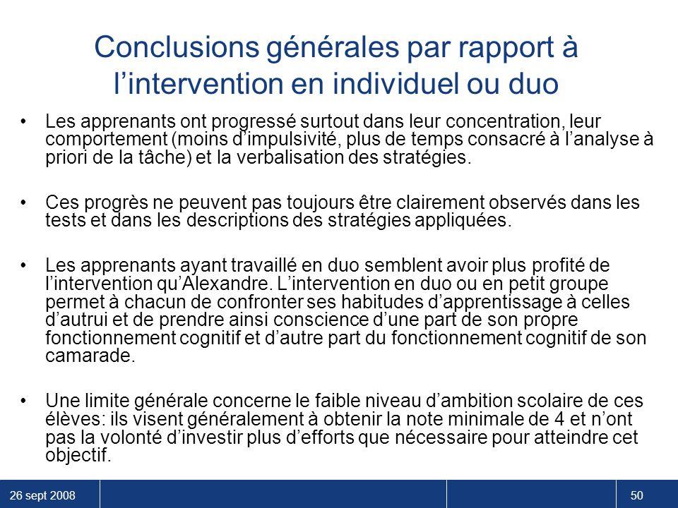 Conclusions générales par rapport à l'intervention en individuel ou duo