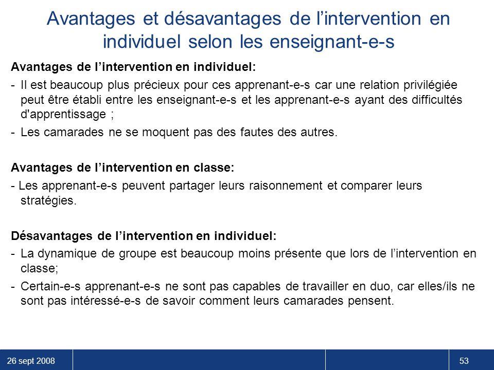 Avantages et désavantages de l'intervention en individuel selon les enseignant-e-s