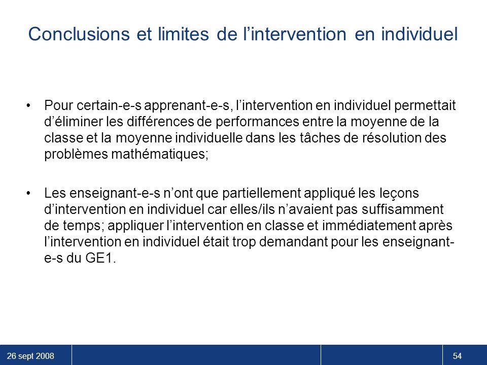 Conclusions et limites de l'intervention en individuel