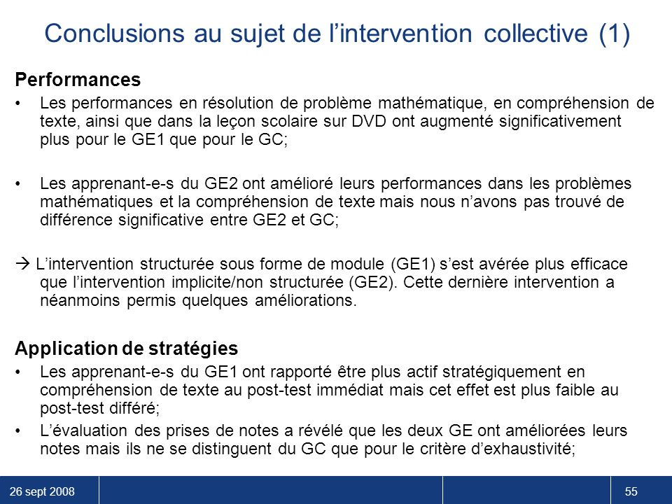Conclusions au sujet de l'intervention collective (1)
