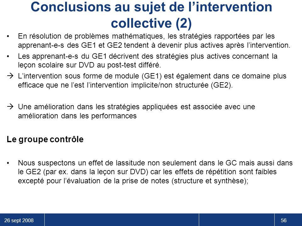 Conclusions au sujet de l'intervention collective (2)