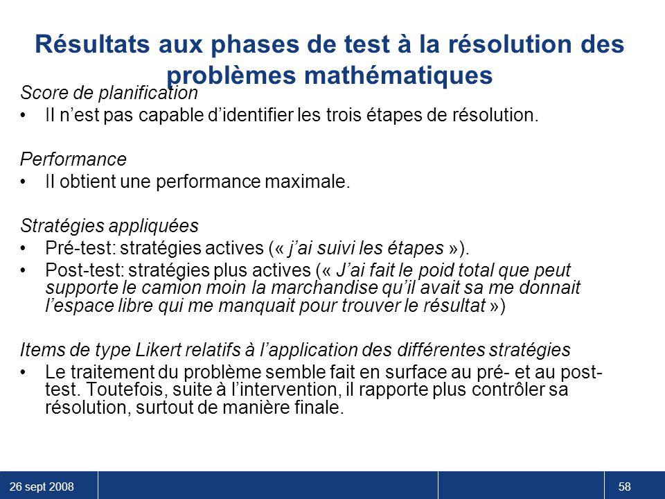 Résultats aux phases de test à la résolution des problèmes mathématiques