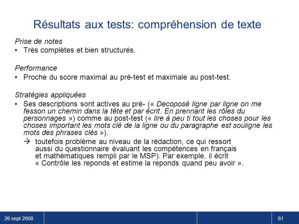 Résultats aux tests: compréhension de texte