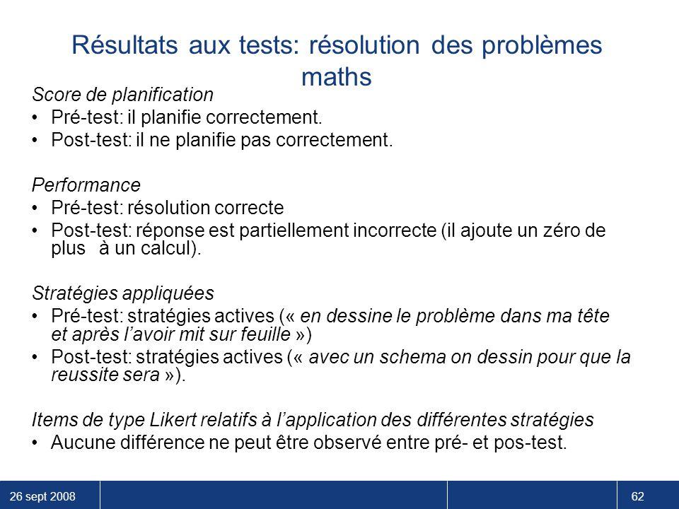 Résultats aux tests: résolution des problèmes maths