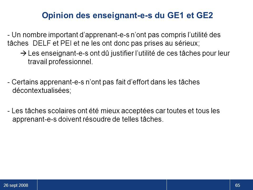 Opinion des enseignant-e-s du GE1 et GE2