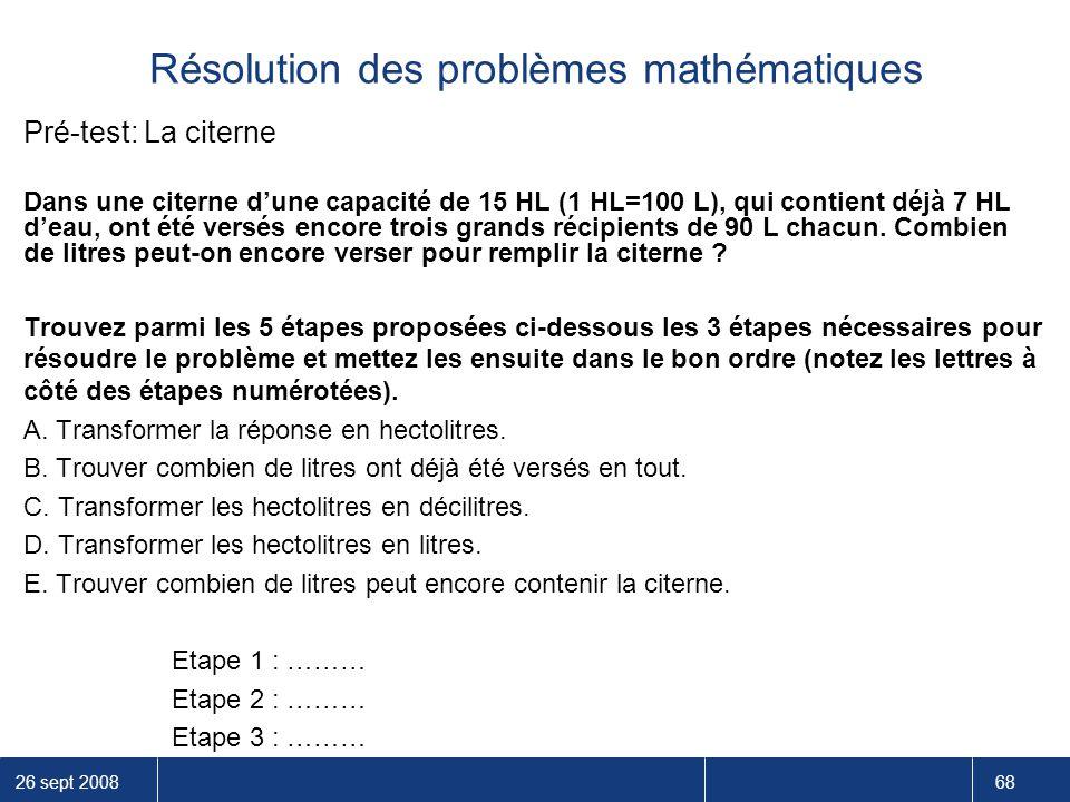 Résolution des problèmes mathématiques