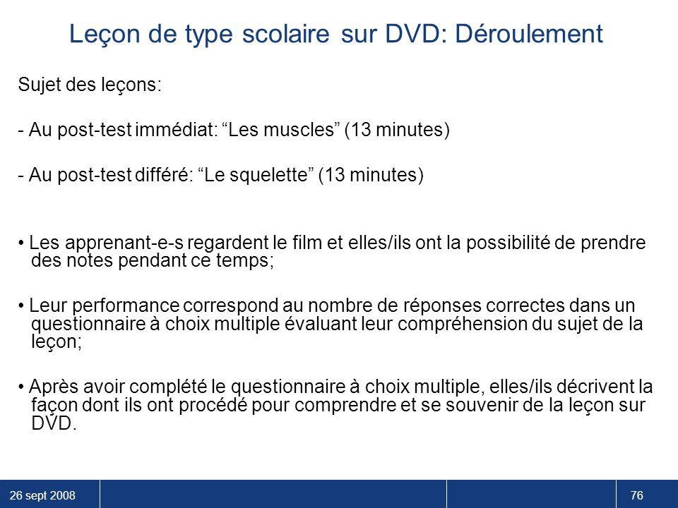 Leçon de type scolaire sur DVD: Déroulement