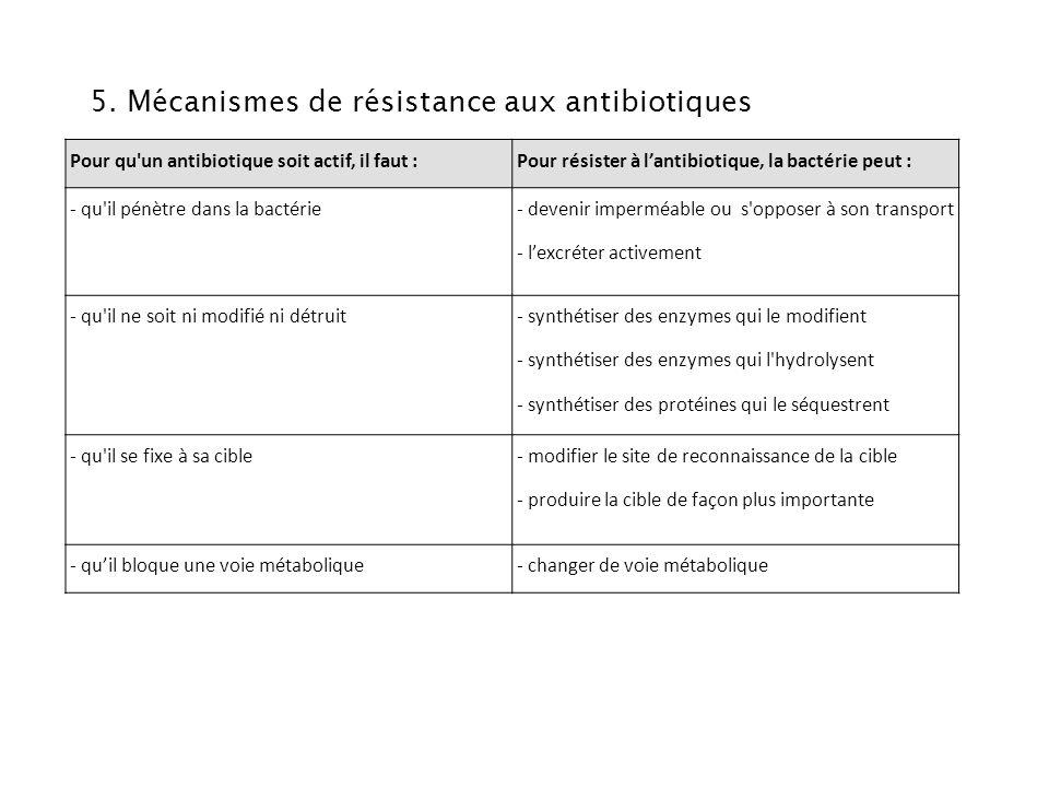 5. Mécanismes de résistance aux antibiotiques