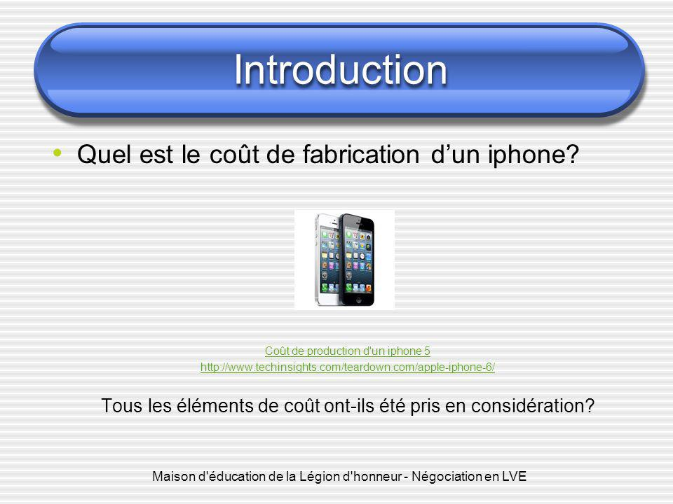 Introduction Quel est le coût de fabrication d'un iphone