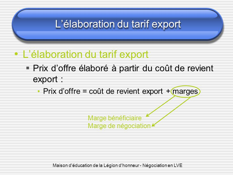 L'élaboration du tarif export