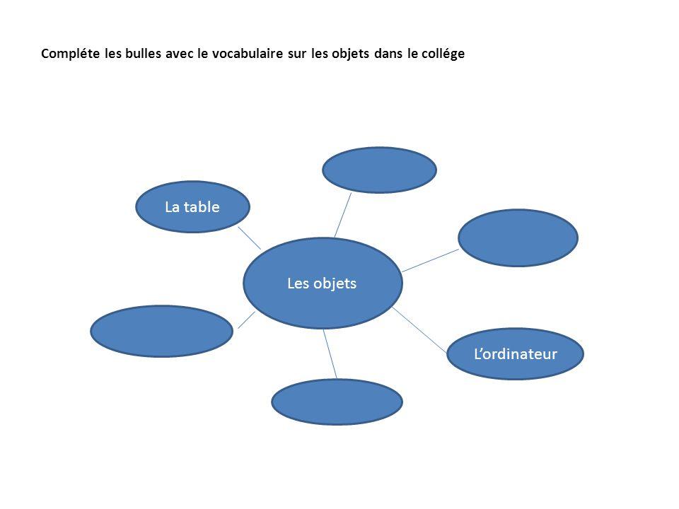 Compléte les bulles avec le vocabulaire sur les objets dans le collége