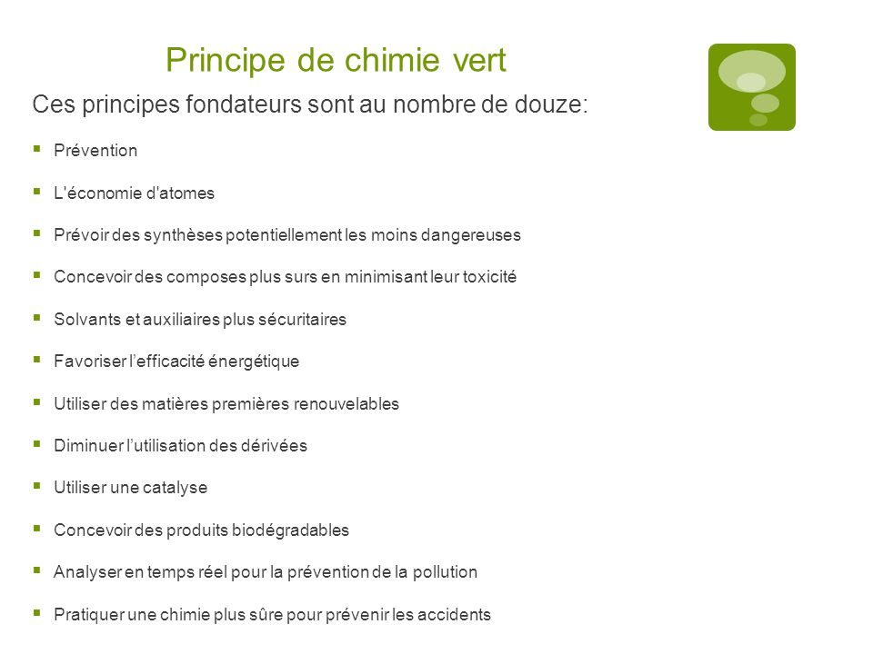 Principe de chimie vert