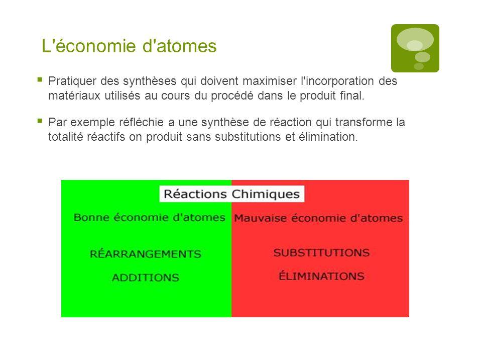 L économie d atomes Pratiquer des synthèses qui doivent maximiser l incorporation des matériaux utilisés au cours du procédé dans le produit final.