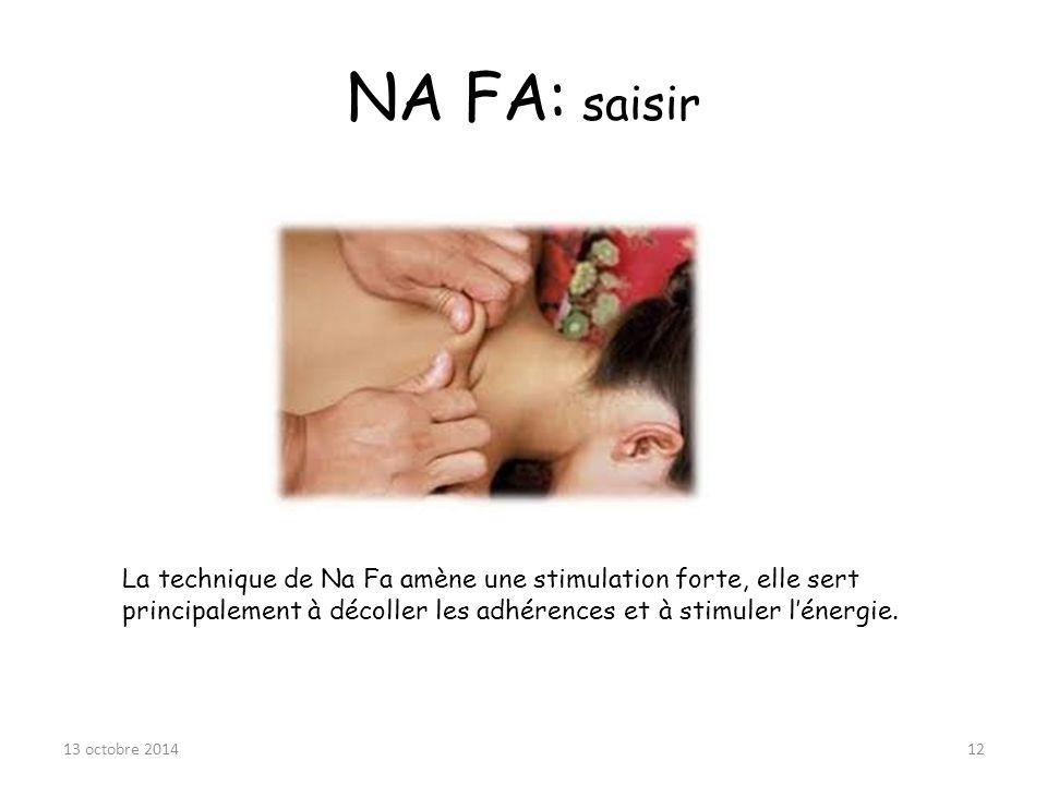 NA FA: saisir La technique de Na Fa amène une stimulation forte, elle sert principalement à décoller les adhérences et à stimuler l'énergie.