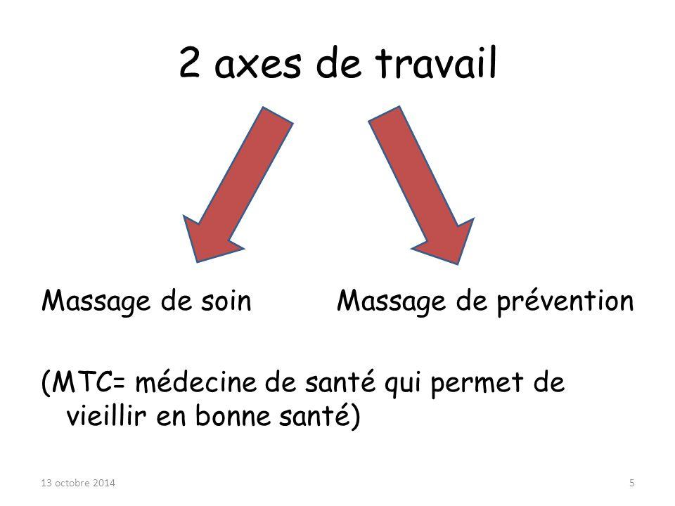2 axes de travail Massage de soin Massage de prévention