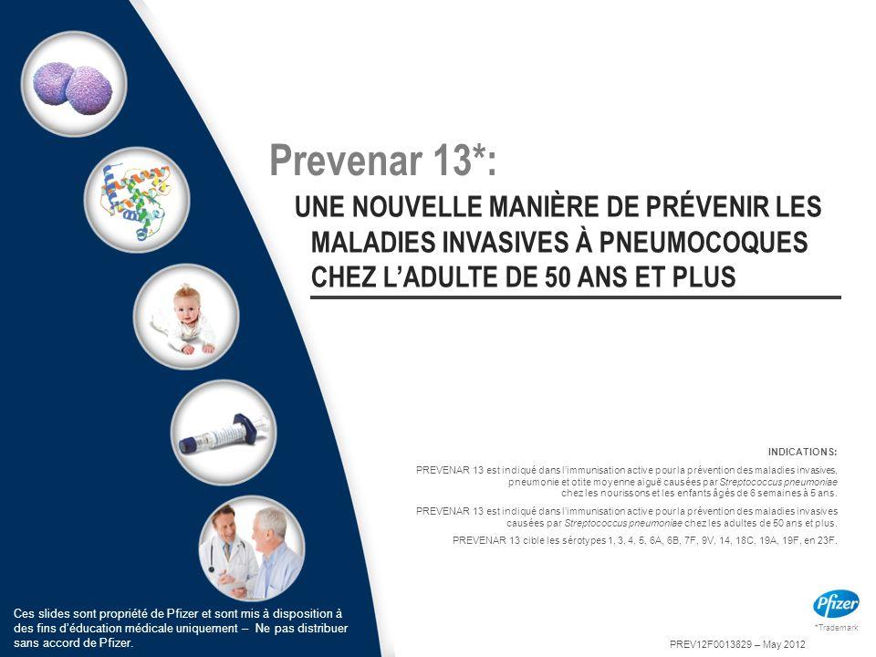 Prevenar 13*: UNE NOUVELLE MANIÈRE DE PRÉVENIR LES MALADIES INVASIVES À PNEUMOCOQUES CHEZ L'ADULTE DE 50 ANS ET PLUS.