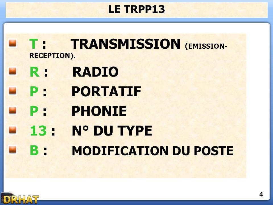 T : TRANSMISSION (EMISSION- RECEPTION). R : RADIO P : PORTATIF