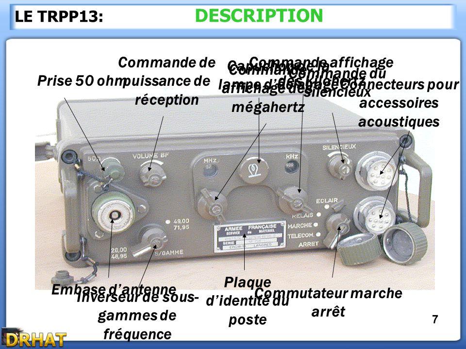 Commande de puissance de réception Commande affichage des kilohertz
