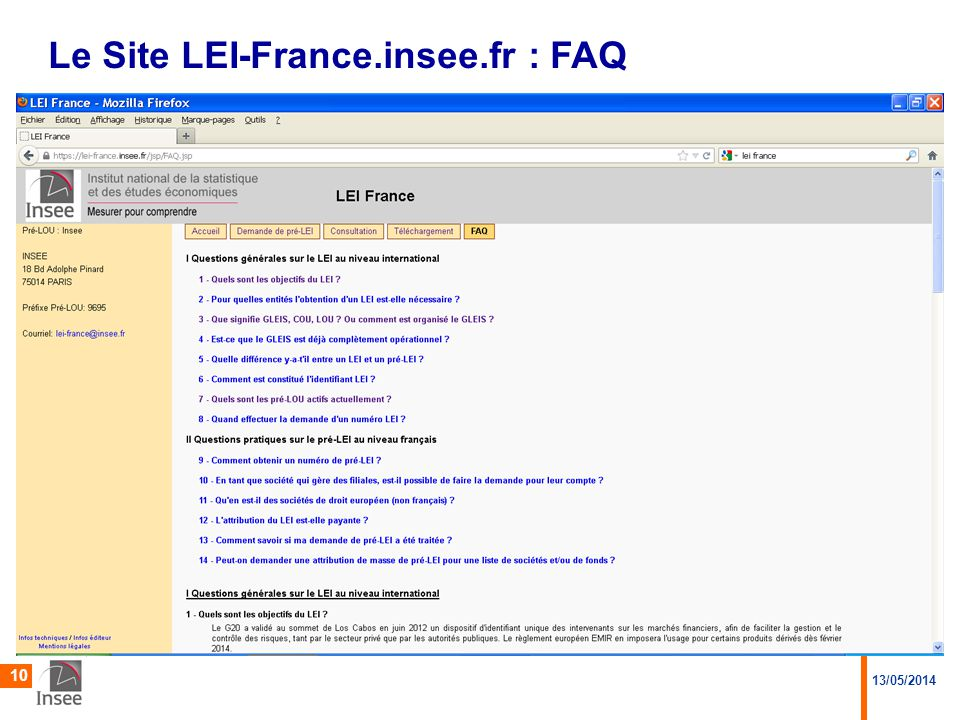 Le Site LEI-France.insee.fr : FAQ