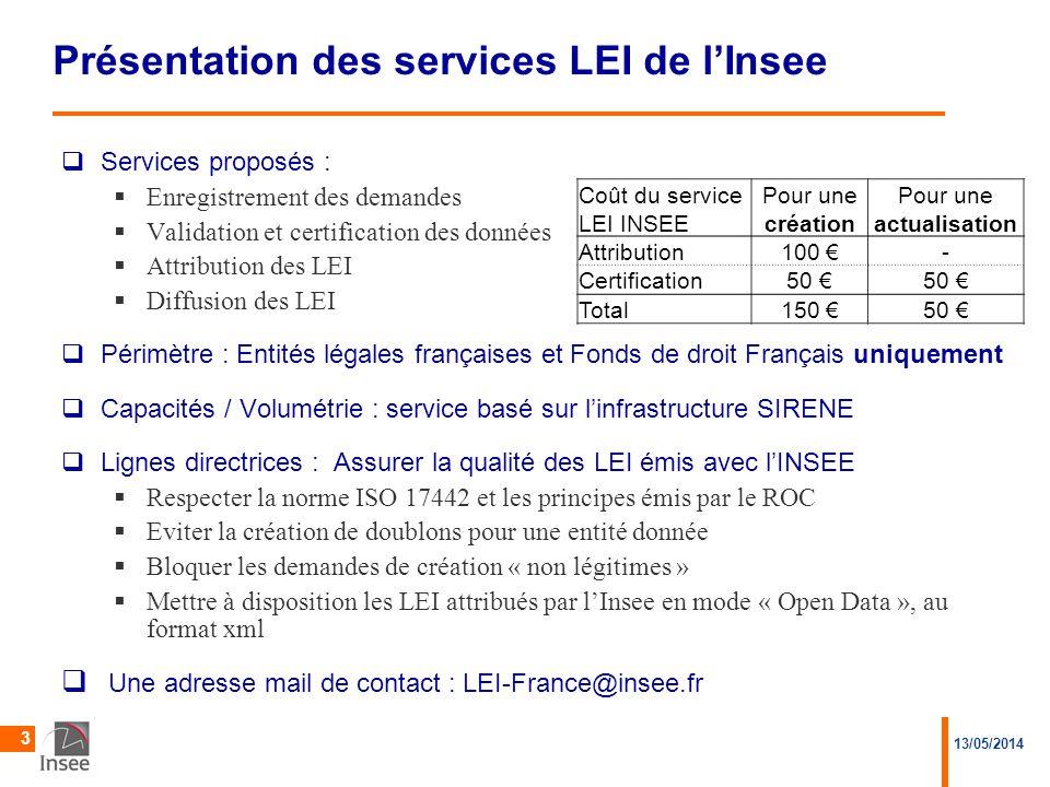 Présentation des services LEI de l'Insee