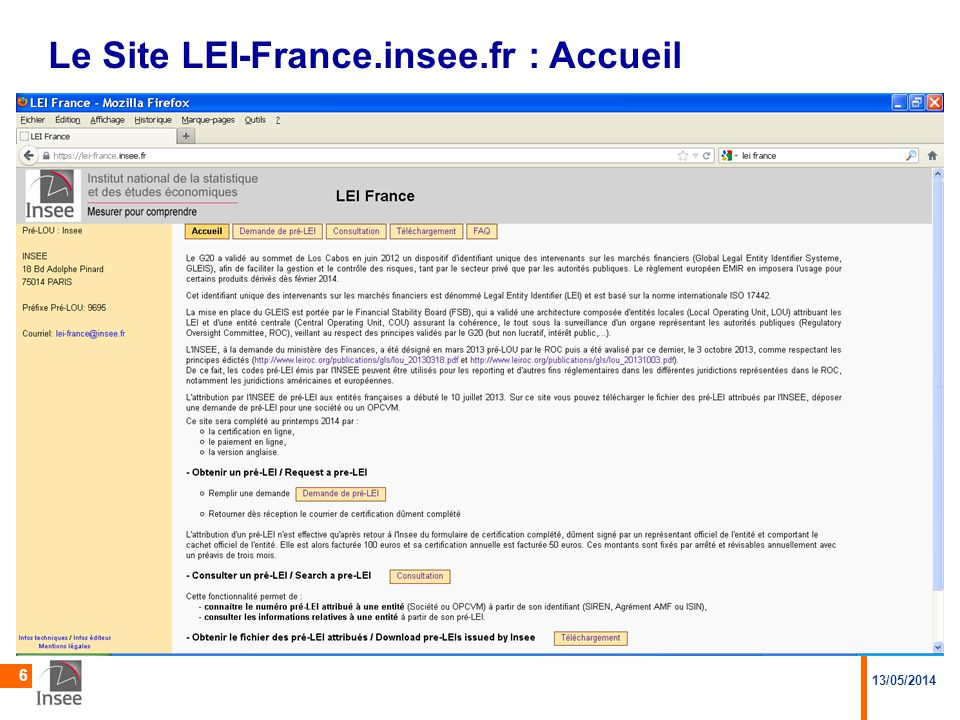Le Site LEI-France.insee.fr : Accueil