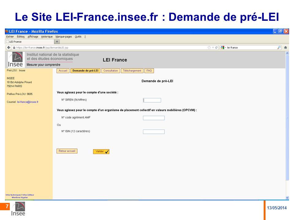 Le Site LEI-France.insee.fr : Demande de pré-LEI