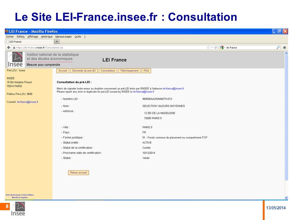 Le Site LEI-France.insee.fr : Consultation