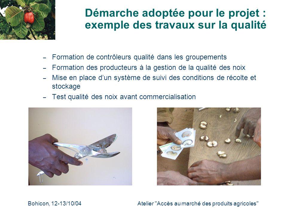 Démarche adoptée pour le projet : exemple des travaux sur la qualité