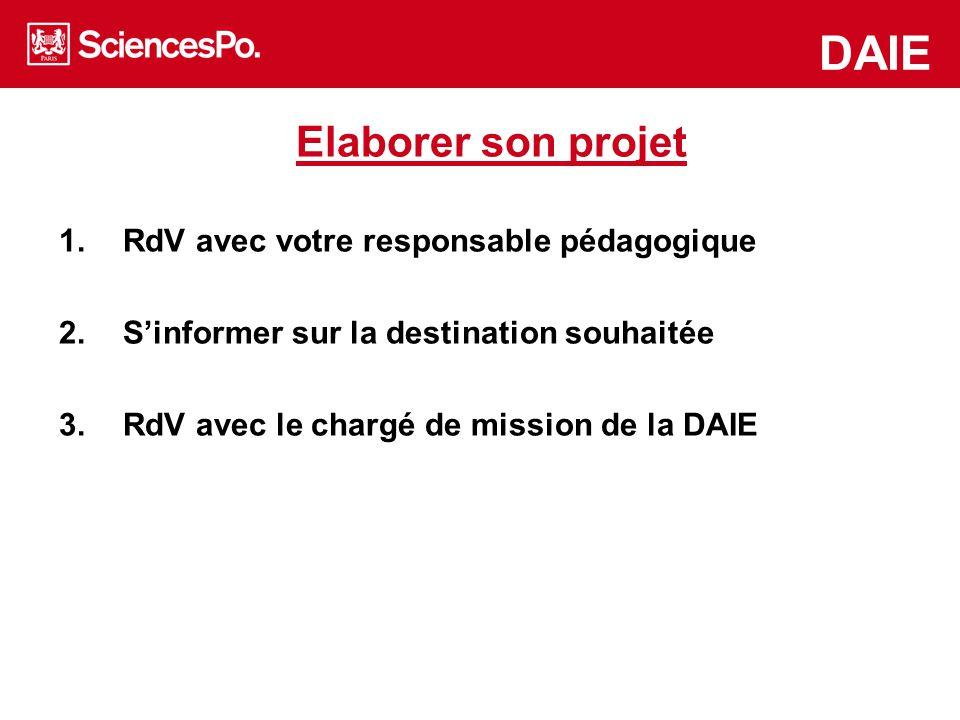 DAIE Elaborer son projet RdV avec votre responsable pédagogique