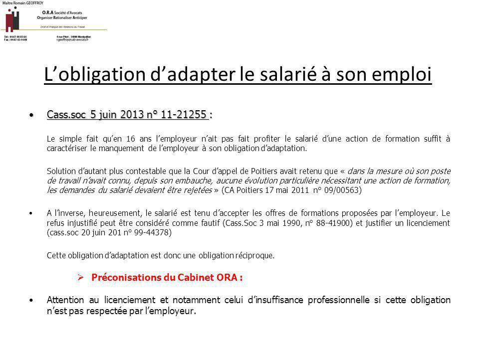 L'obligation d'adapter le salarié à son emploi