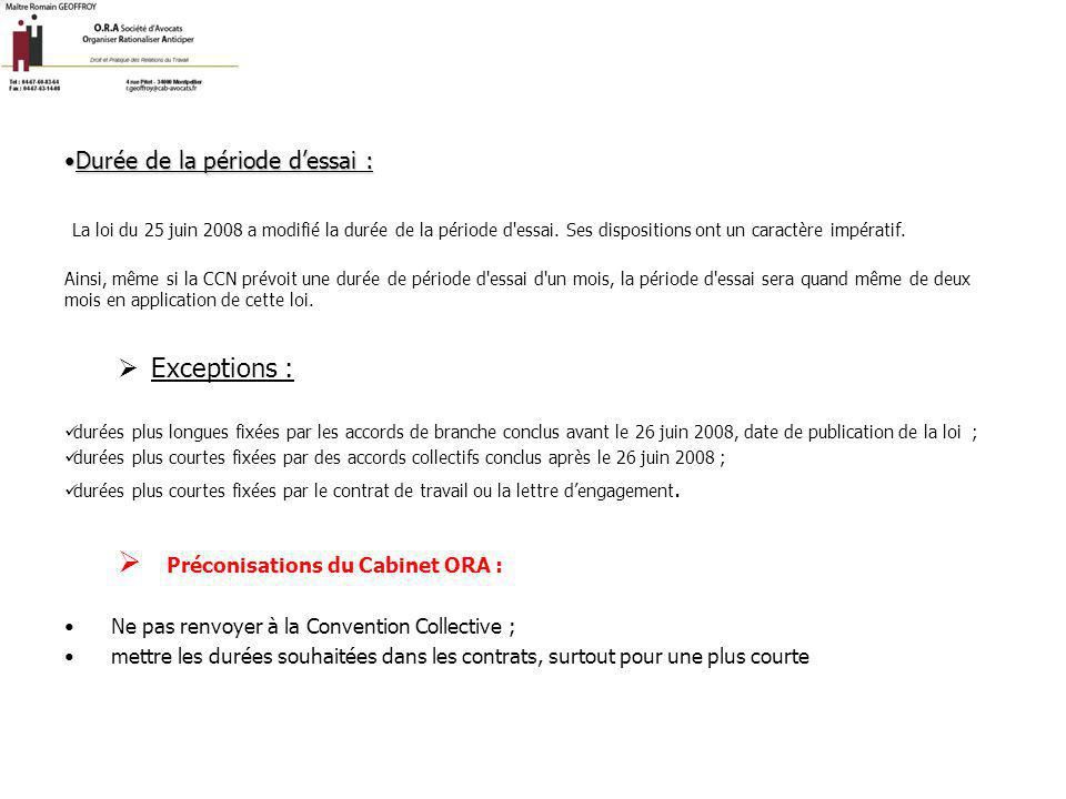 Préconisations du Cabinet ORA :