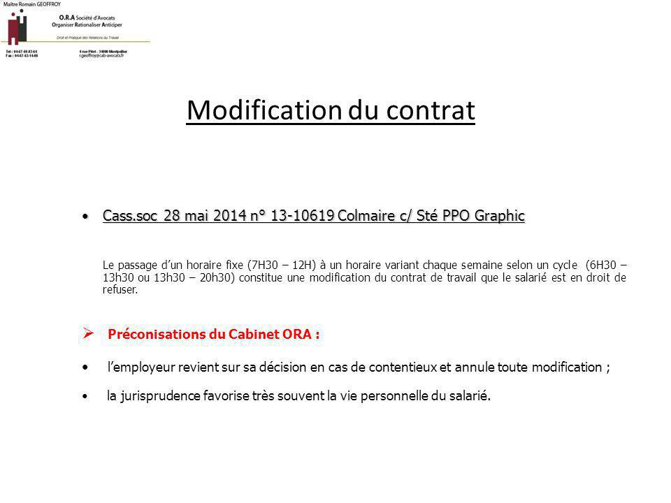 Modification du contrat