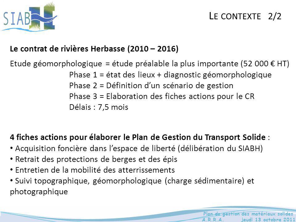 Le contexte 2/2 Le contrat de rivières Herbasse (2010 – 2016)