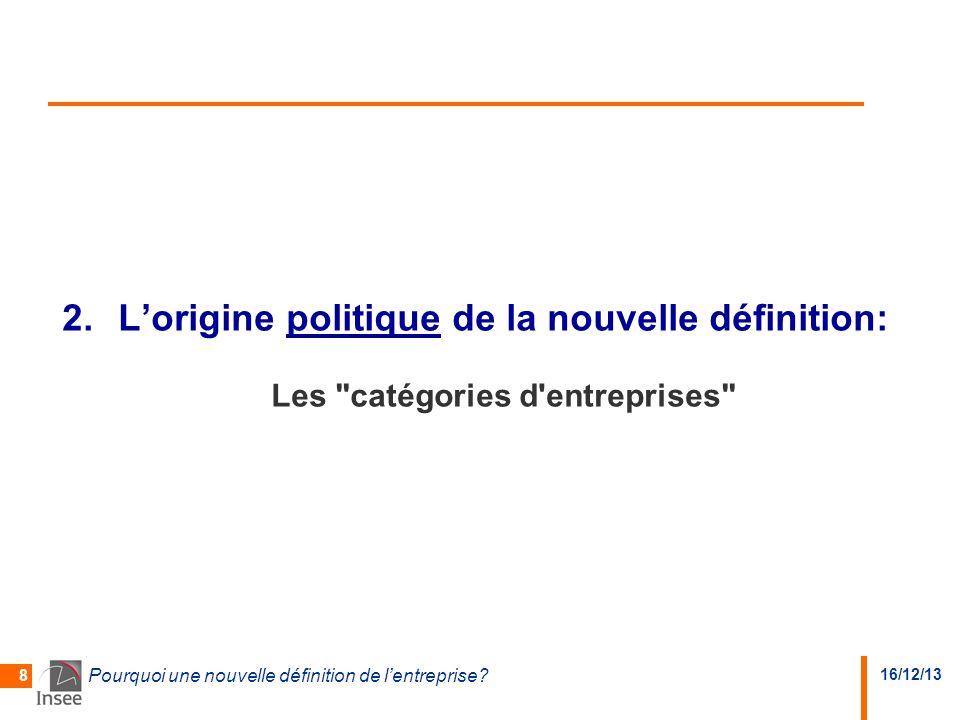 L'origine politique de la nouvelle définition: Les catégories d entreprises