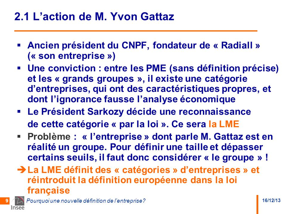 2.1 L'action de M. Yvon Gattaz
