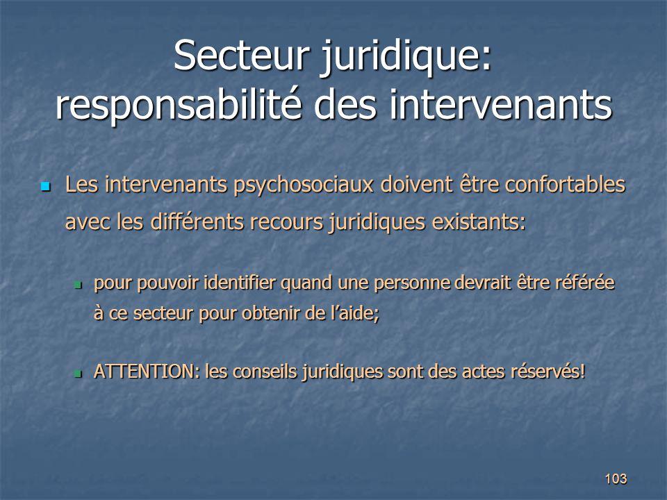 Secteur juridique: responsabilité des intervenants