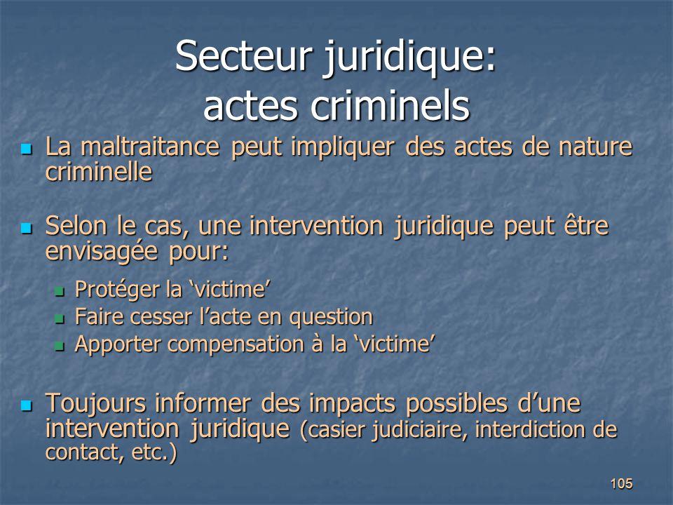 Secteur juridique: actes criminels